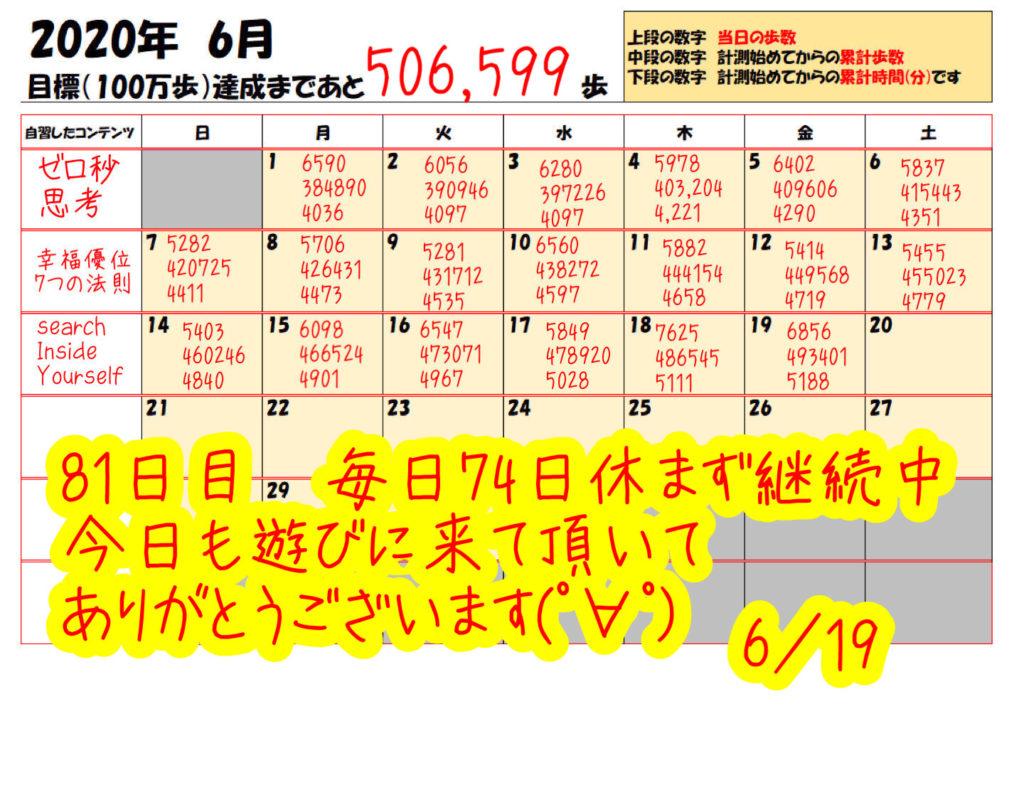 踏み台昇降 2020年6月19日の記録