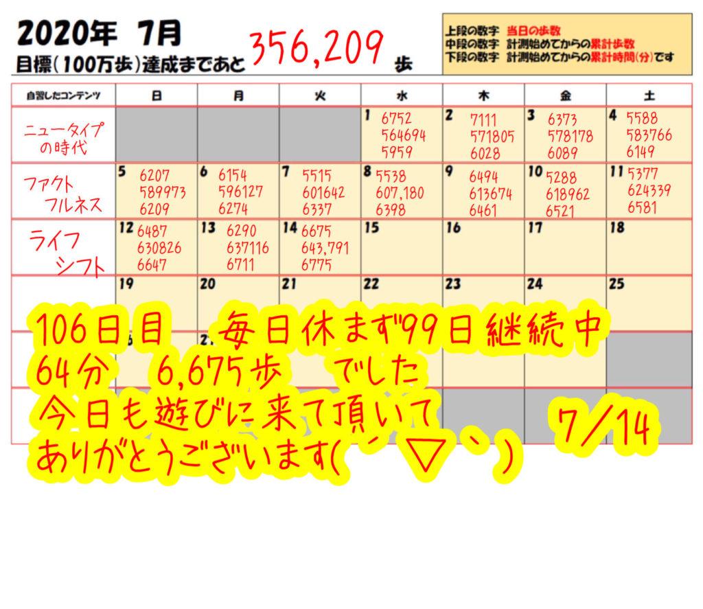踏み台昇降 2020年7月14日の記録