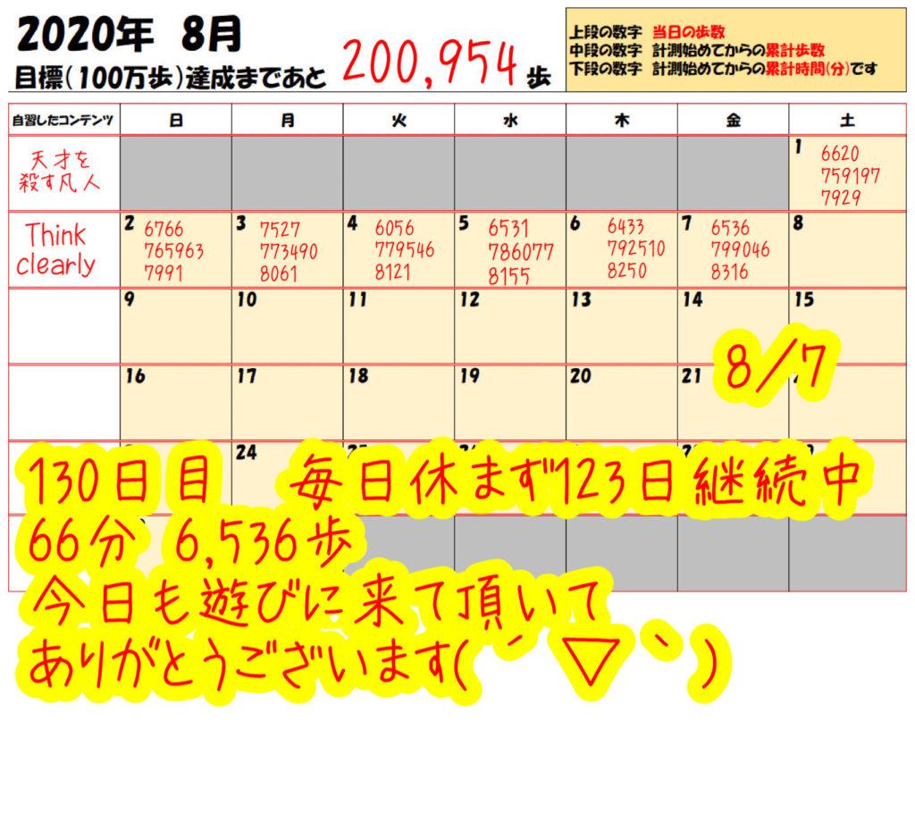 踏み台昇降 2020年8月7日の記録