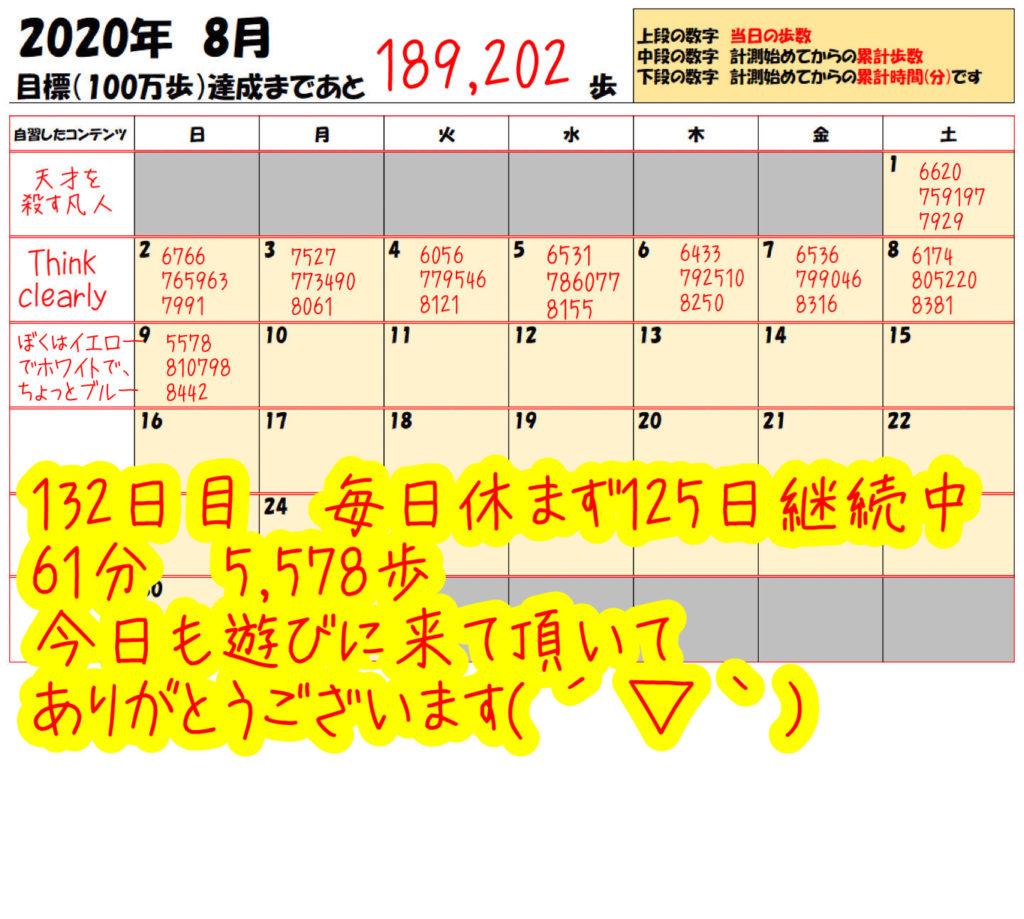 踏み台昇降 2020年8月7日の記録踏み台昇降 2020年8月9日の記録