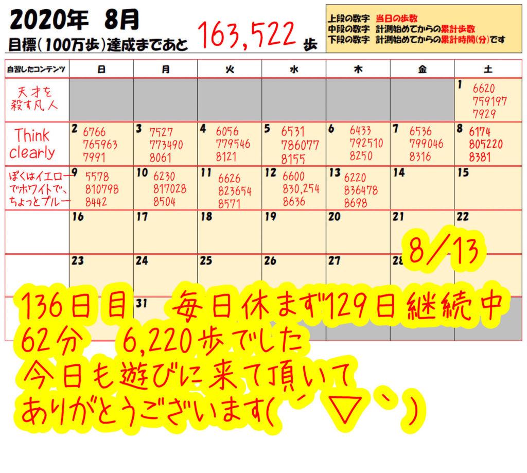 踏み台昇降 2020年8月7日の記録踏み台昇降 2020年8月13日の記録