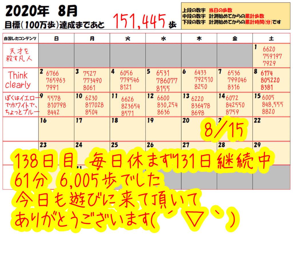 踏み台昇降 2020年8月7日の記録踏み台昇降 2020年8月15日の記録