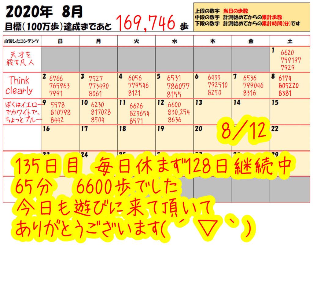 踏み台昇降 2020年8月7日の記録踏み台昇降 2020年8月12日の記録