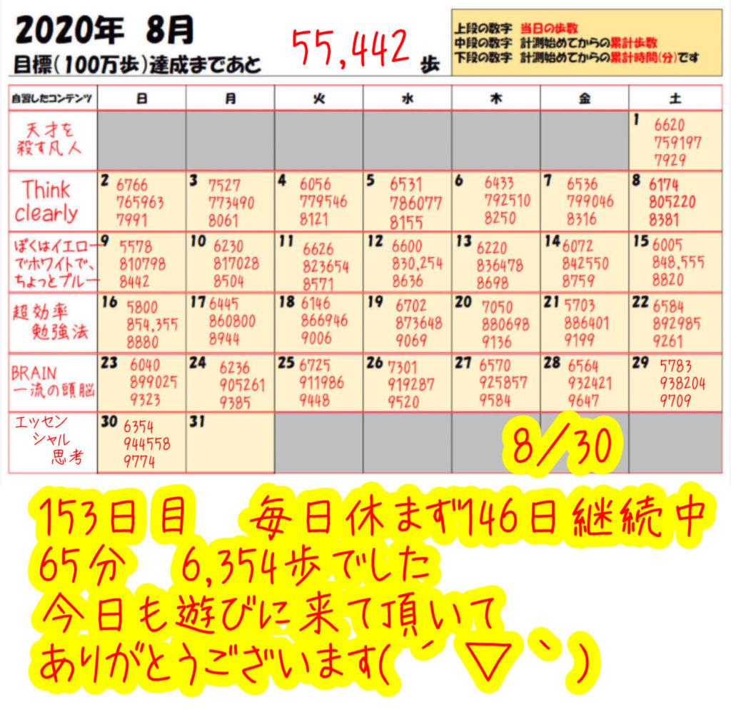 踏み台昇降 2020年8月30日の記録