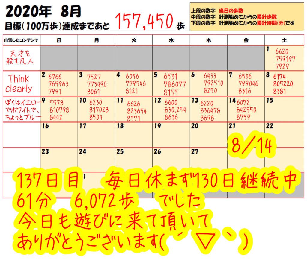踏み台昇降 2020年8月7日の記録踏み台昇降 2020年8月14日の記録