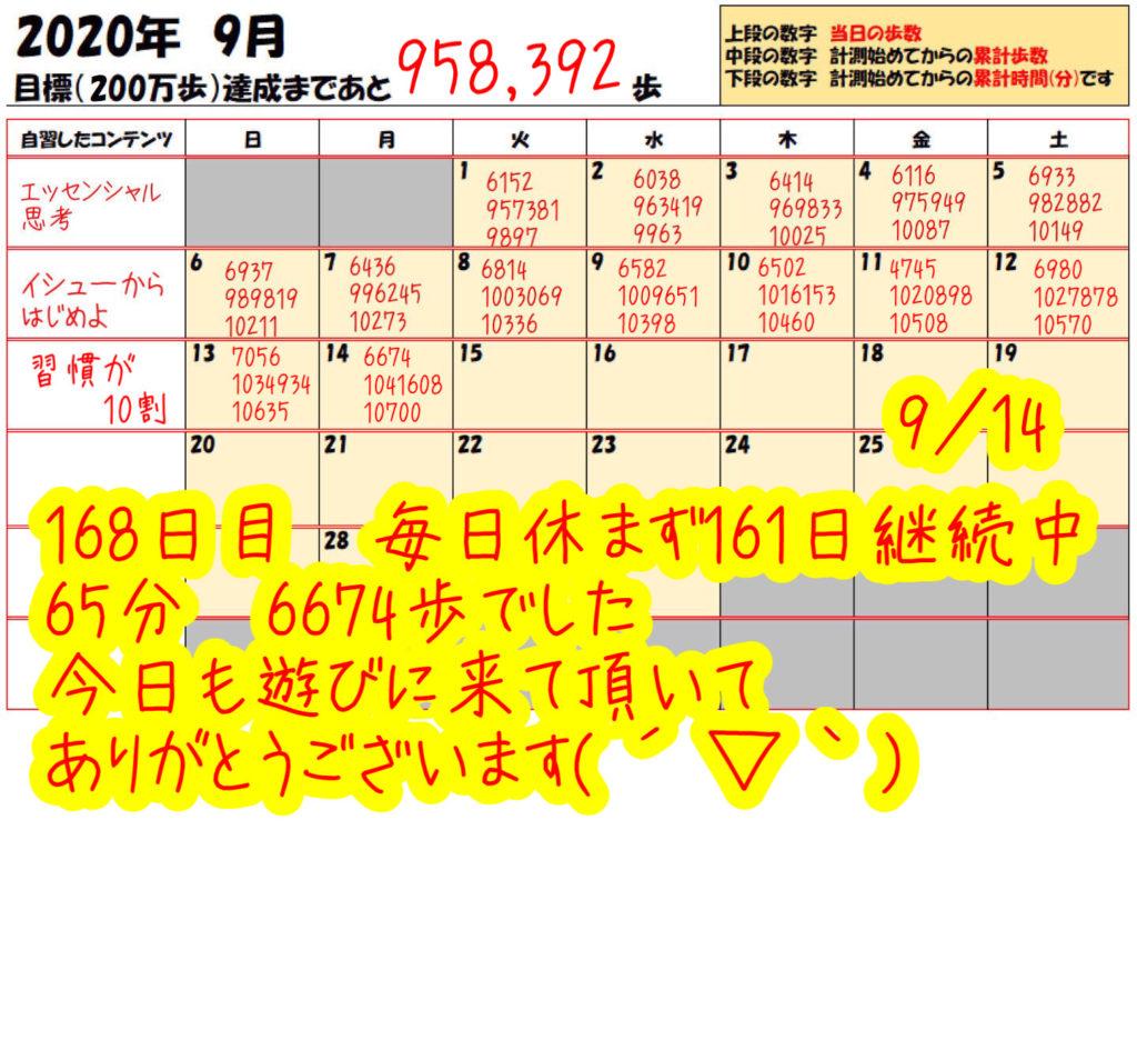 踏み台昇降 2020年9月15日の記録