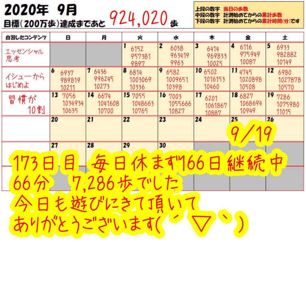 踏み台昇降 2020年9月19日の記録