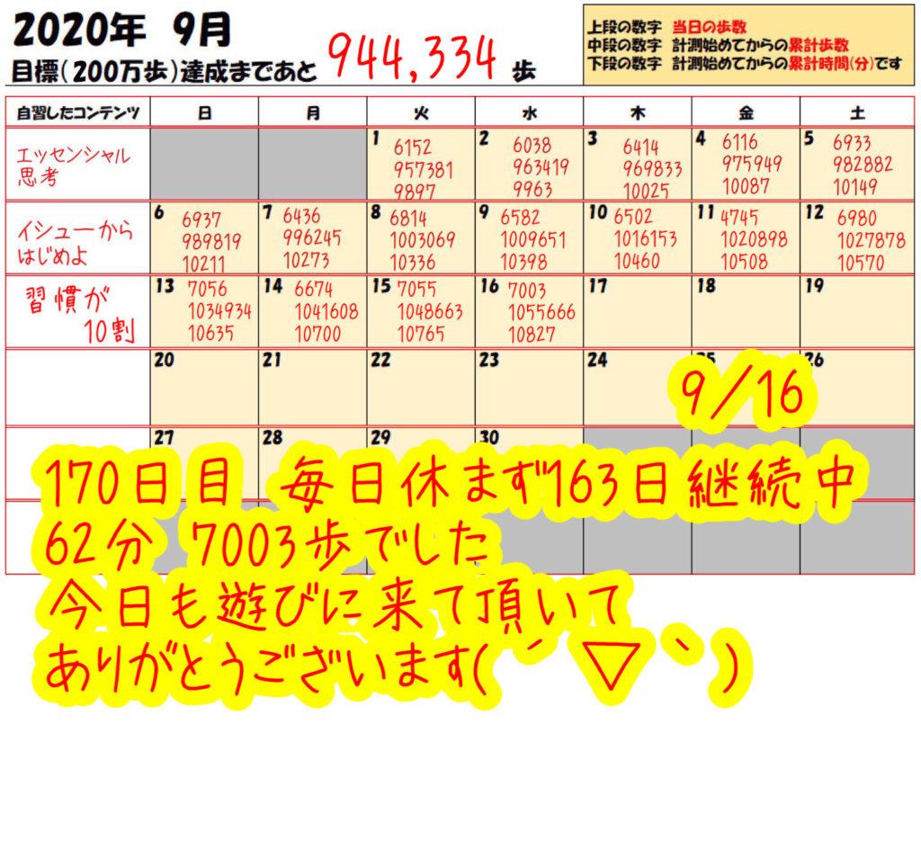 踏み台昇降 2020年9月16日の記録