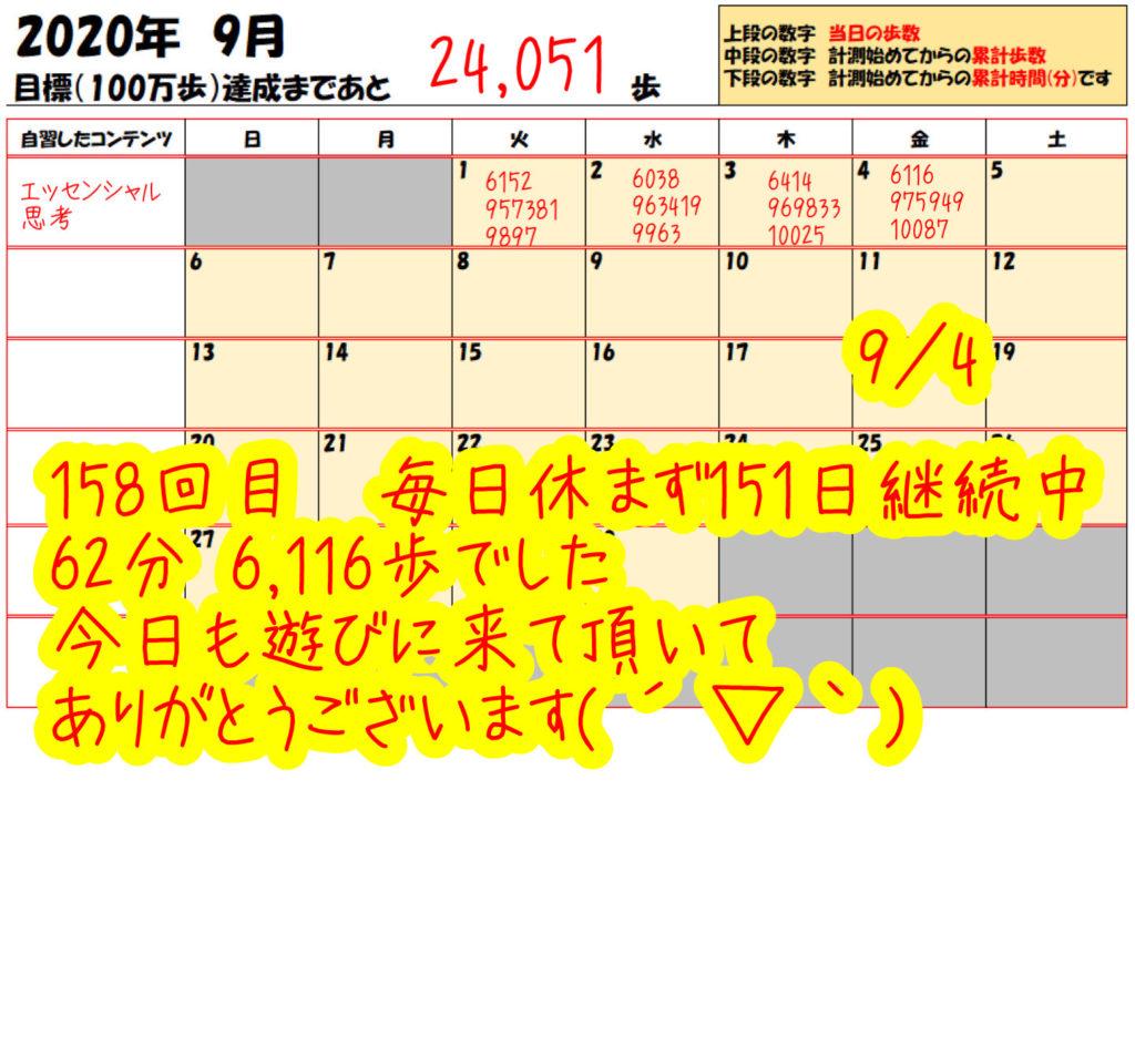 踏み台昇降 2020年9月4日の記録