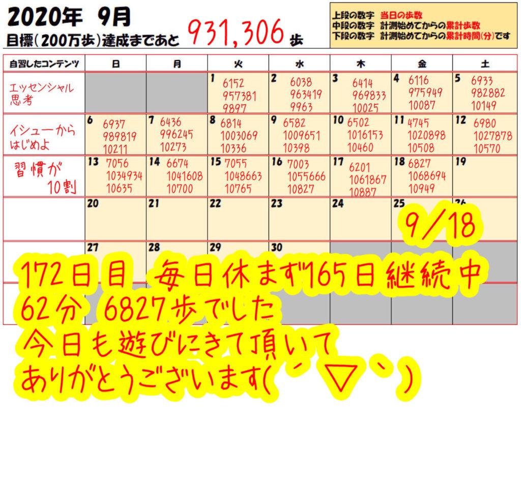 踏み台昇降 2020年9月18日の記録