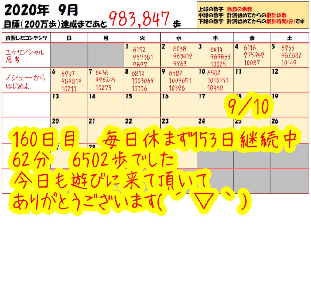 踏み台昇降 2020年9月10日の記録