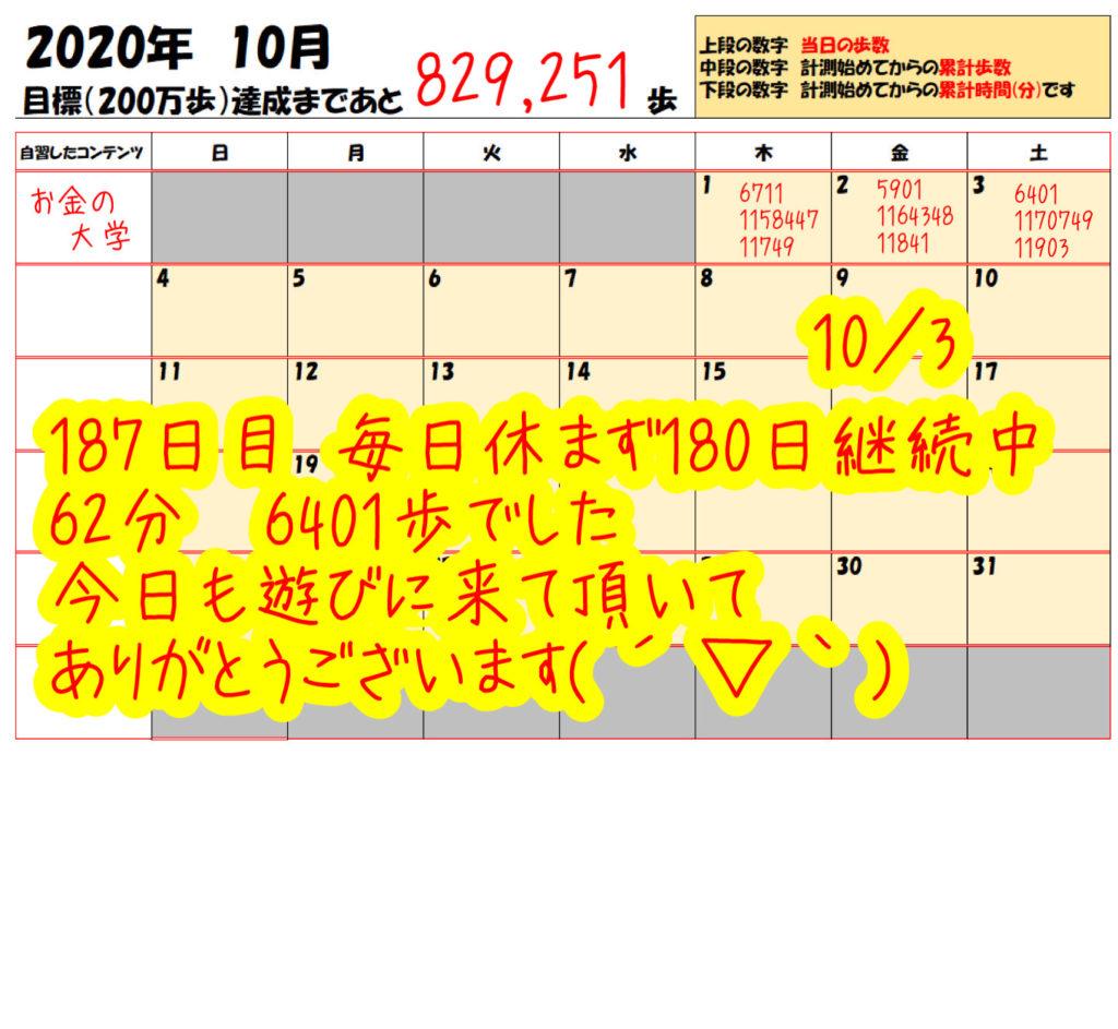 踏み台昇降 2020年10月3日の記録