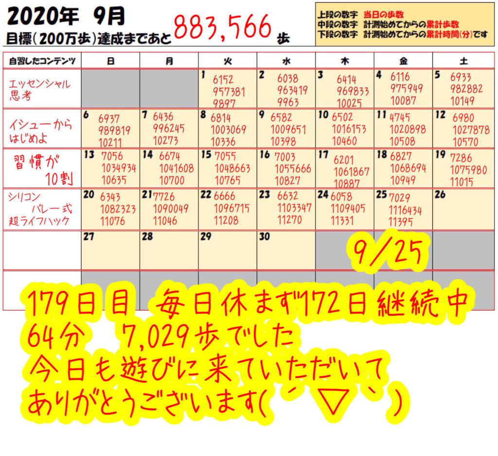 踏み台昇降 2020年9月25日の記録