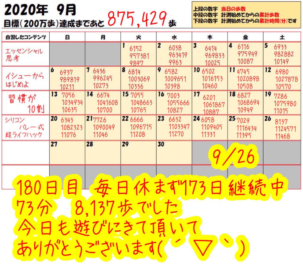 踏み台昇降 2020年9月26日の記録
