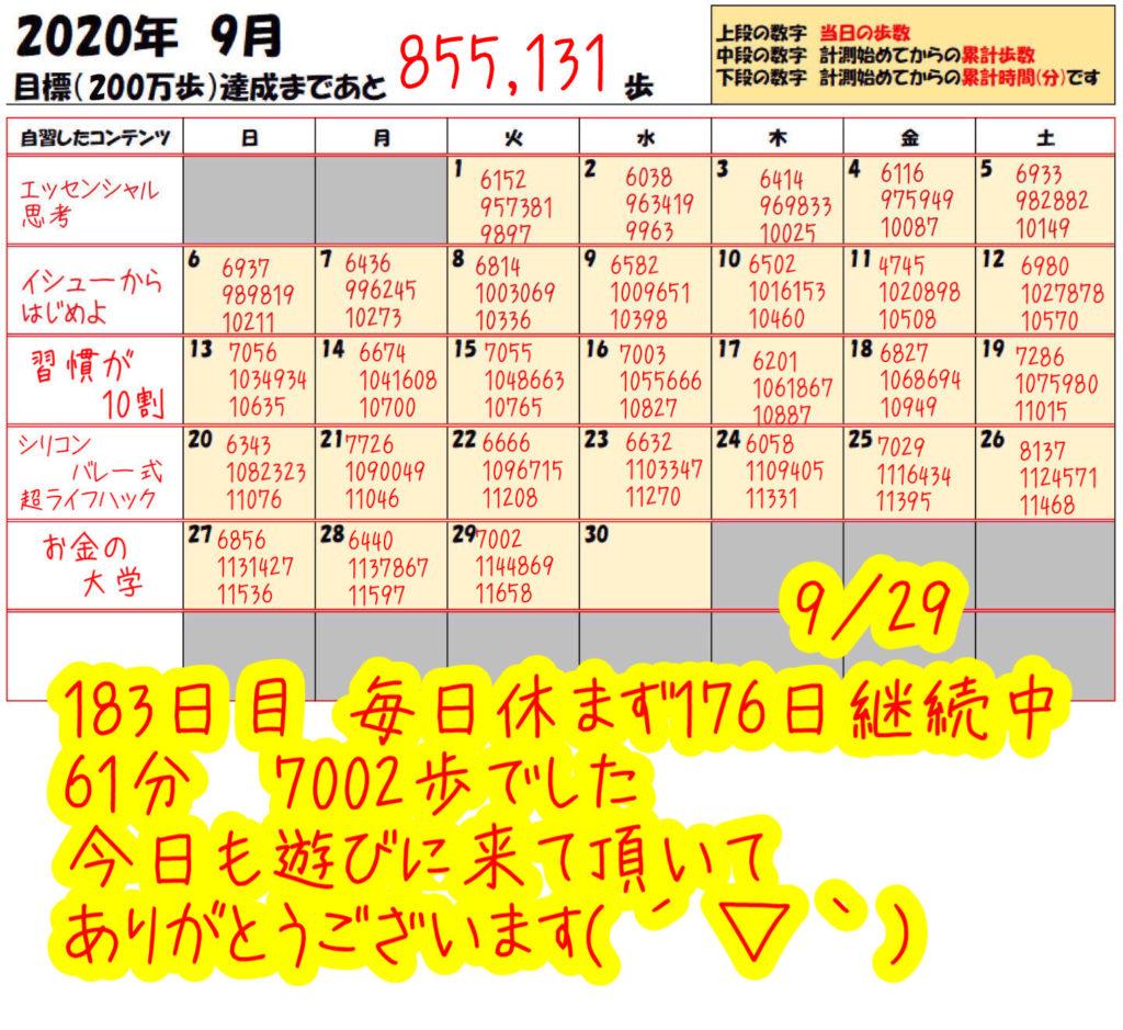 踏み台昇降 2020年9月29日の記録