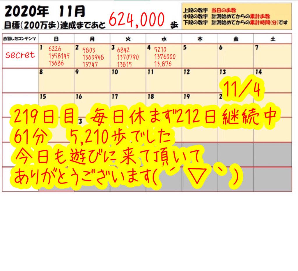 踏み台昇降 2020年11月4日の記録
