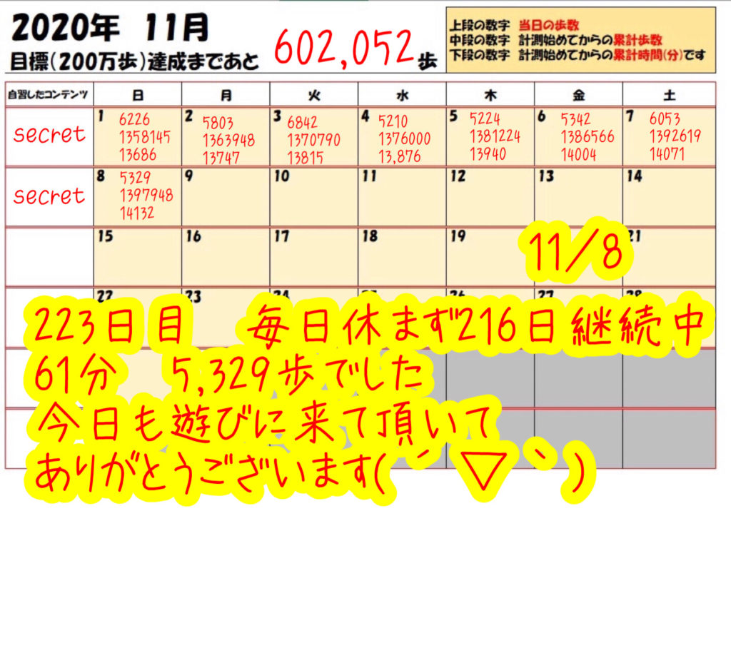 踏み台昇降 2020年11月8日の記録