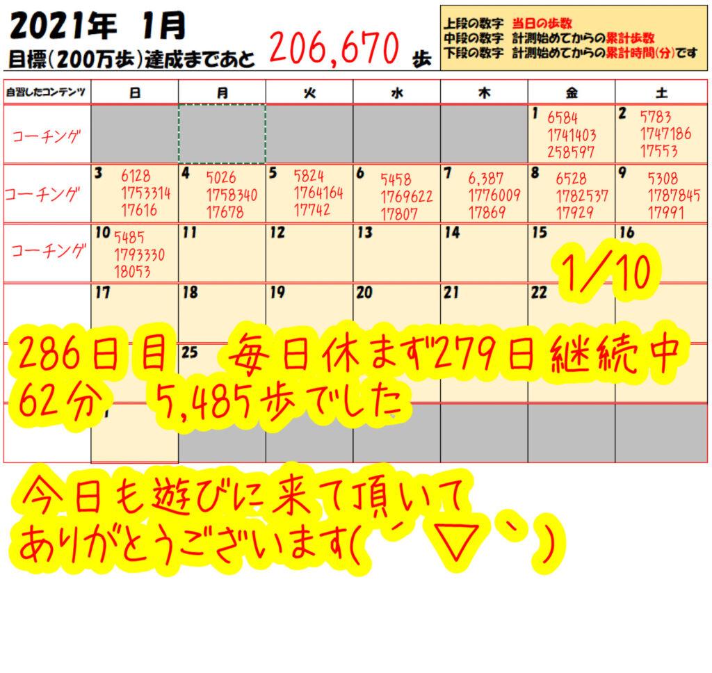 踏み台昇降 2021年1月10日の記録