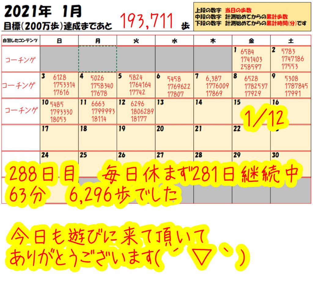 踏み台昇降 2021年1月12日の記録