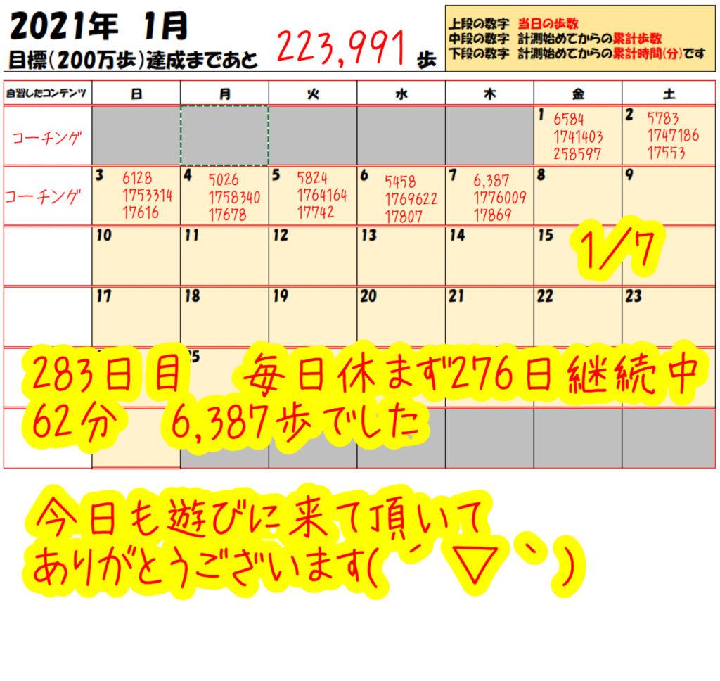 踏み台昇降 2021年1月7日の記録
