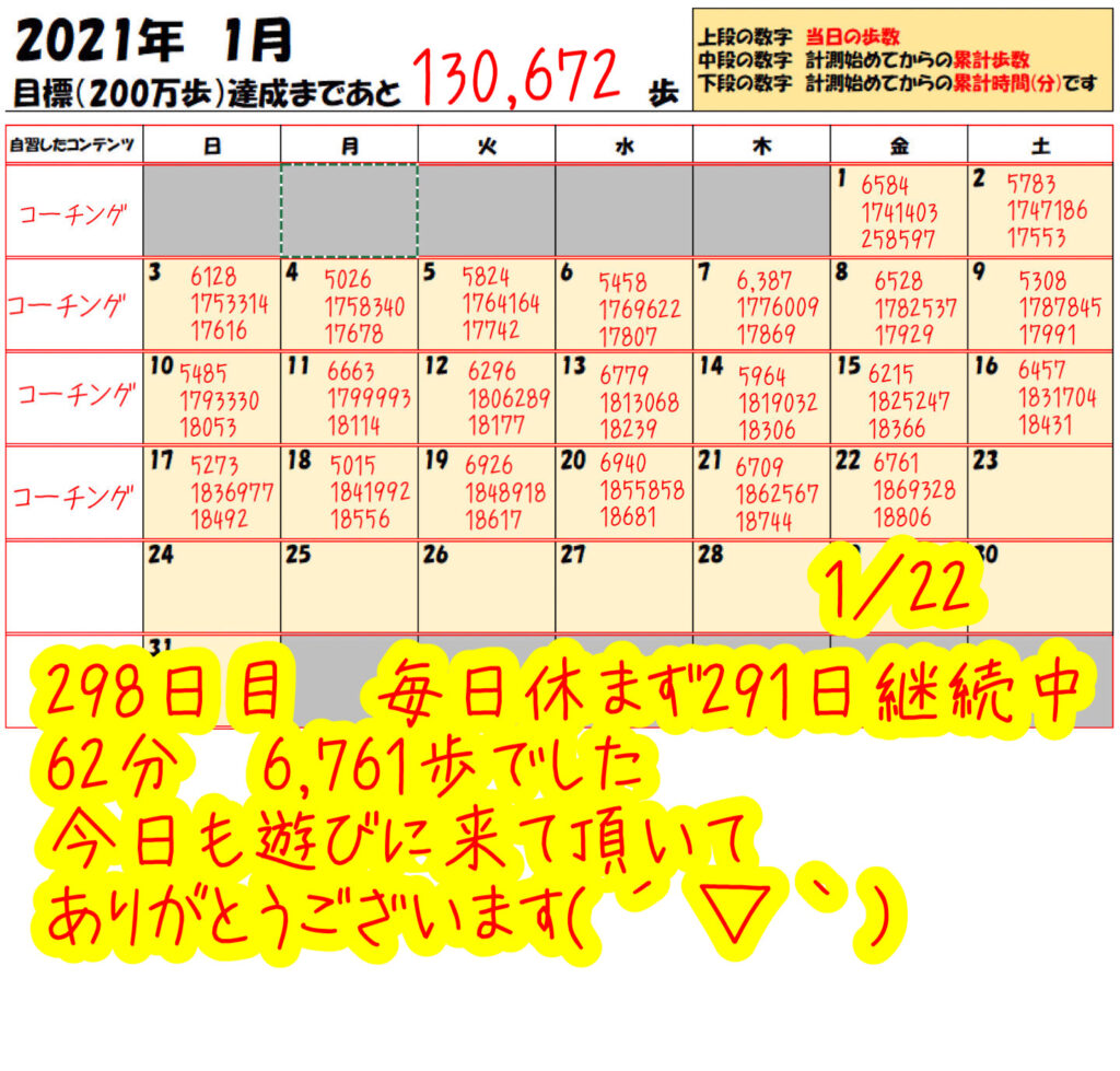踏み台昇降 2021年1月22日の記録