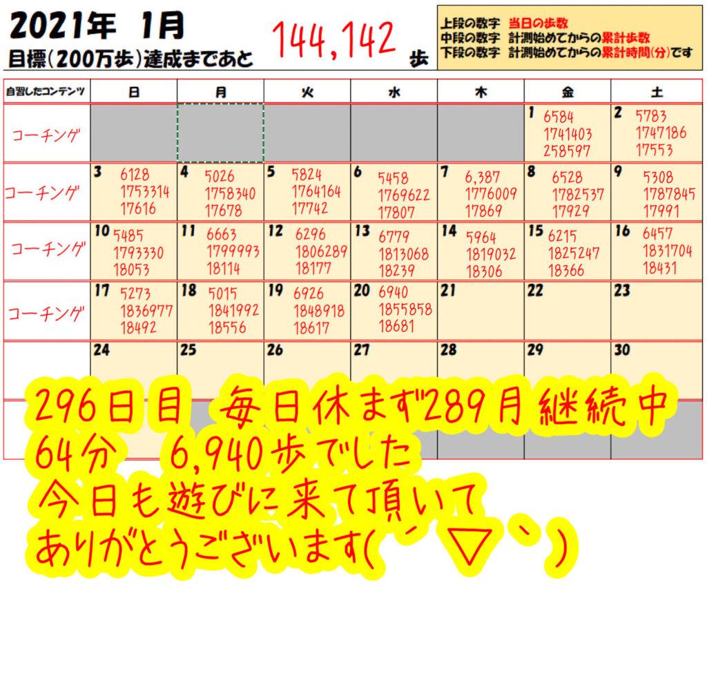 踏み台昇降 2021年1月20日の記録