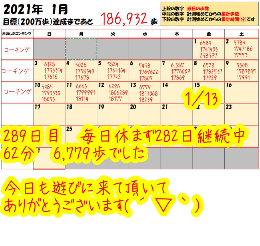 踏み台昇降 2021年1月13日の記録