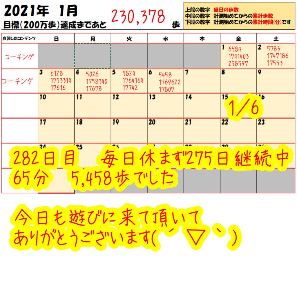 踏み台昇降 2021年1月6日の記録