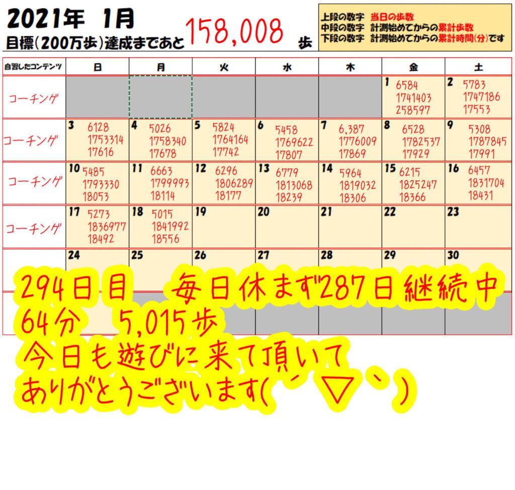 踏み台昇降 2021年1月18日の記録